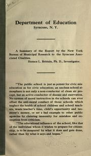 A summary of the report by the New York Bureau of municipal research to the Syracuse associated charities PDF