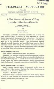 A new genus and species of frog (Leptodactylidae) from Colombia by Cochran, Doris M.