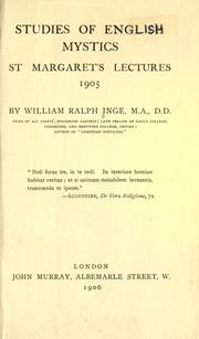 Studies of English mystics by Inge, William Ralph