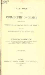 History of the philosophy of mind by Robert Blakey