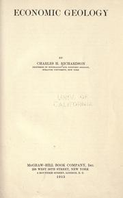 Cover of: Economic geology by Richardson, Charles Henry