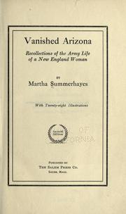 Vanished Arizona by Summerhayes, Martha
