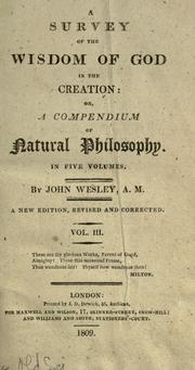 A survey of the wisdom of God in the creation by John Wesley