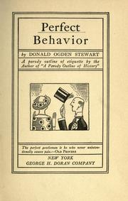 Cover of: Perfect behavior by Donald Ogden Stewart