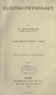 Electro-physiology by W. Biedermann