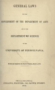 General laws for the government of the Department of Arts and of the Department of Science ...