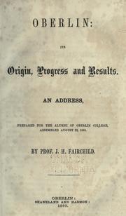Oberlin, its origin, progress and results PDF