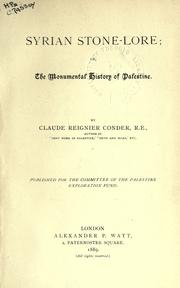 Syrian stone-lore by C. R. Conder