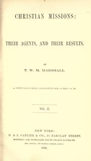 Christian missions by T. W. M. Marshall