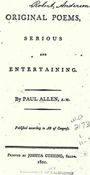 Original poems, serious and entertaining by Allen, Paul