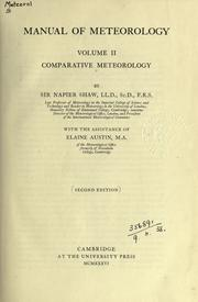 Manual of meteorology by Shaw, Napier Sir, Napier Shaw