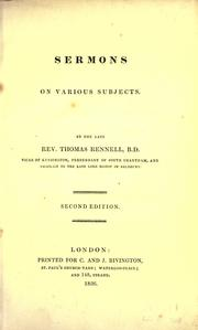 Sermons on various subjects by Rennell, Thomas