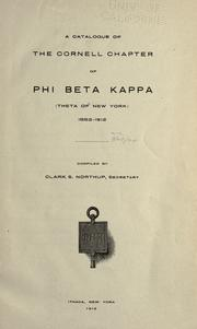 Cover of: A Catalogue of the Cornell chapter of Phi Beta Kappa (Theta of New York) by Phi Beta Kappa.