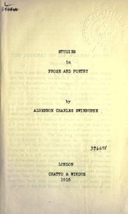 Studies in prose and poetry by Swinburne, Algernon Charles