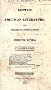 Lectures on American literature by Samuel L. Knapp
