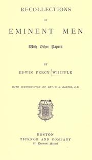Recollections of eminent men by Edwin Percy Whipple