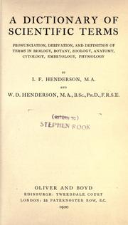 A dictionary of scientific terms by I. F. Henderson