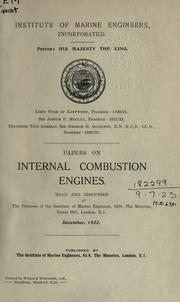 Papers on internal combustion engines by Institute of Marine Engineers.