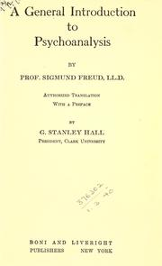Cover of: A general introduction to psycho-analysis by Sigmund Freud