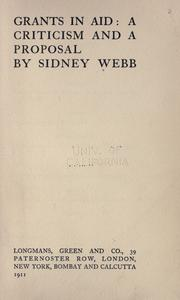 Grants in aid by Sidney Webb