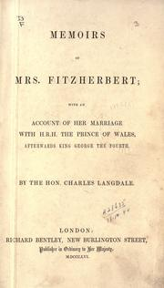 Memoirs of Mrs. Fitzherbert by Charles Langdale