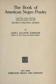 The Book of American Negro Poetry by James Weldon Johnson