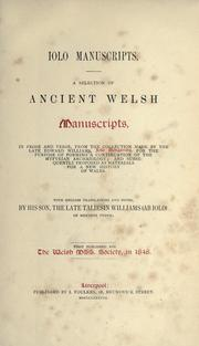 Iolo manuscripts by Taliesin Williams