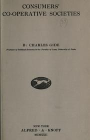 Consumers&#39; co-operative societies by Charles Gide