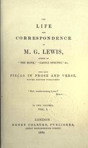 Cover of: The life and correspondence of M.G. Lewis by Matthew Gregory Lewis