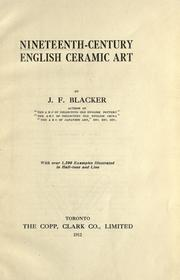 Nineteenth-century English ceramic art by J. F. Blacker