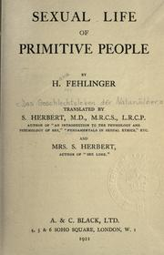 Cover of: Sexual life of primitive people by Hans Fehlinger