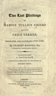 The two last pleadings of Marcus Tullius Cicero against Caius Verres by Cicero