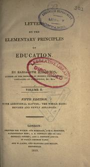 Letters on the elementary principles of education by Hamilton, Elizabeth