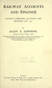 Railway accounts and finance by Allen E. Newhook