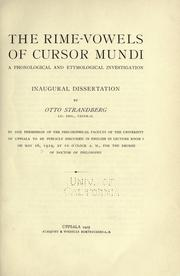 The rime-vowels of Cursor mundi by Otto Strandberg