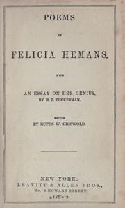 Cover of: Poems by Felicia Dorothea Browne Hemans
