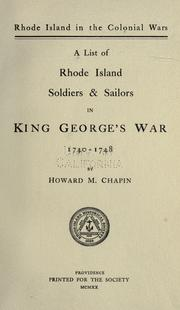 Rhode Island in the colonial wars by Howard M. Chapin