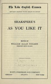 Cover of: Shakspere's As you like it by William Shakespeare
