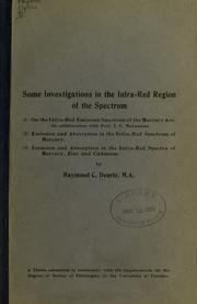 Some investigations in the infra-red region of the spectrum by Raymond Compton Dearle