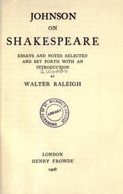 Johnson on Shakespeare by Samuel Johnson