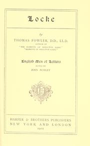Locke by Fowler, Thomas