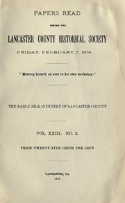 The early silk industry of Lancaster County .. PDF