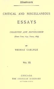 Cover of: Critical and miscellaneous essays by Thomas Carlyle