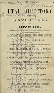 Cover of: Utah directory and gazetteer for 1879-80 by H. L. A. Culmer