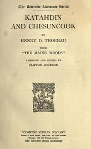 Katahdin and Chesuncook by Henry David Thoreau