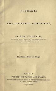 A grammar of the Hebrew language by Hyman Hurwitz