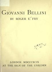 Giovanni Bellini by Roger Fry
