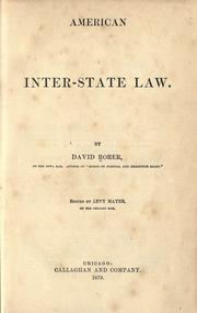 American interstate law by David Rorer