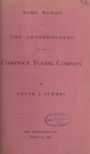 Some words to the shareholders of the Comstock Tunnel Company PDF
