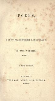 Cover of: Poems by Henry Wadsworth Longfellow